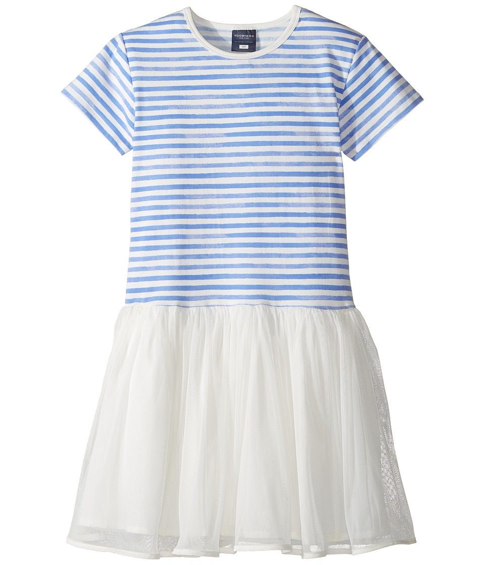 Toobydoo - Watercolor Tulle Dress (Toddler/Little Kids/Big Kids) (Blue/White) Girl's Dress