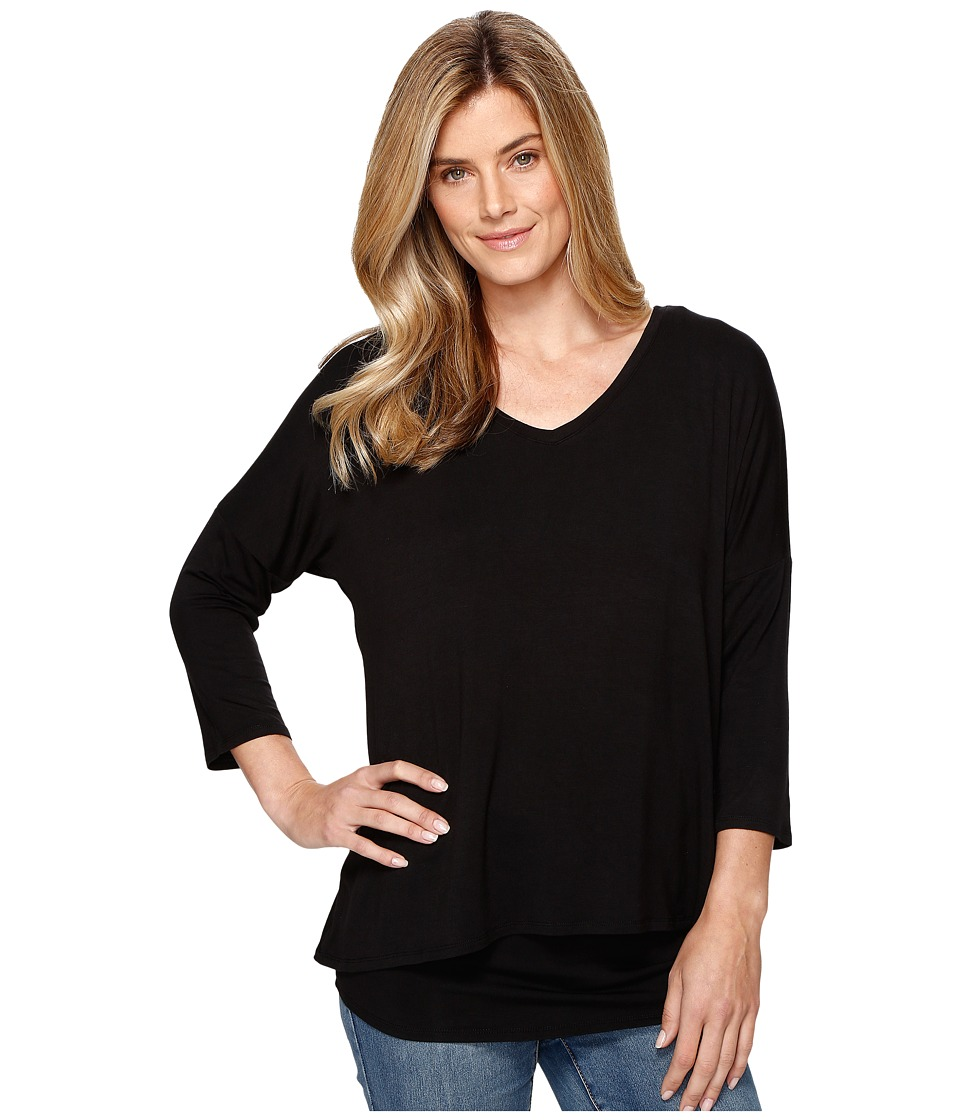 Tribal - 3/4 Sleeve V-Neck Jersey Layer Top (Black) Women's Long Sleeve Pullover