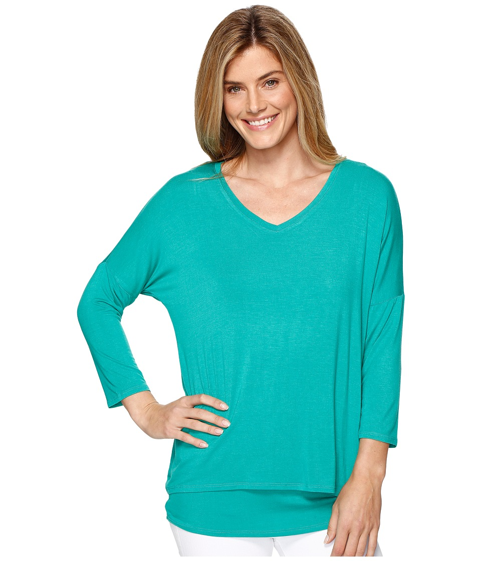 Tribal - 3/4 Sleeve V-Neck Jersey Layer Top (Kelly Green) Women's Long Sleeve Pullover