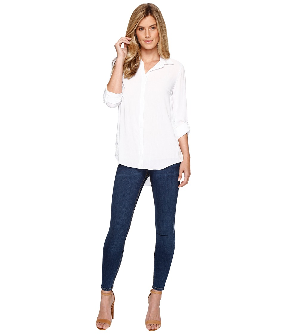Tribal - Long Sleeve Shirt w/ Button Side (White) Women's Long Sleeve Button Up