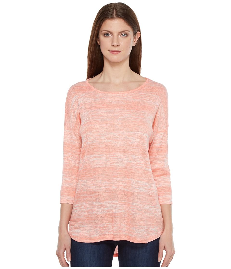 Tribal - Slub Knit 3/4 Sleeve Button Back Top (Papaya) Women's Long Sleeve Pullover