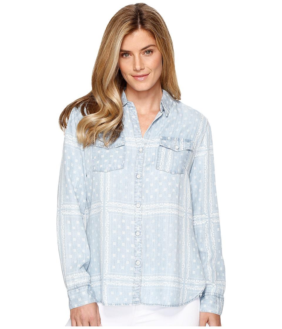Tribal - Printed Lace Lyocell Denim Shirt (Bleach) Women's Long Sleeve Button Up