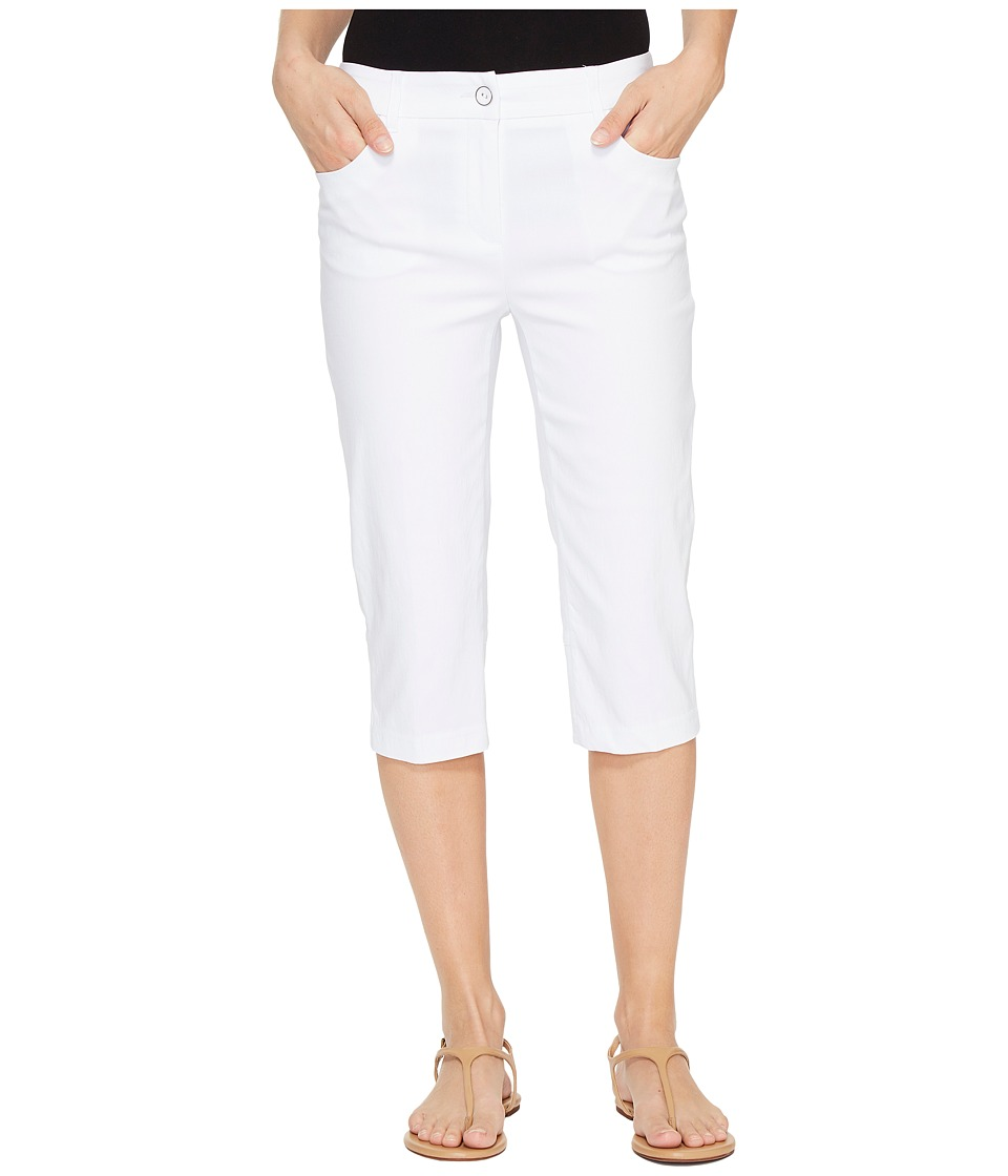 Tribal - Stretch Bengaline 17 Zip Front Back Detail Pedal Pusher (White) Women's Clothing