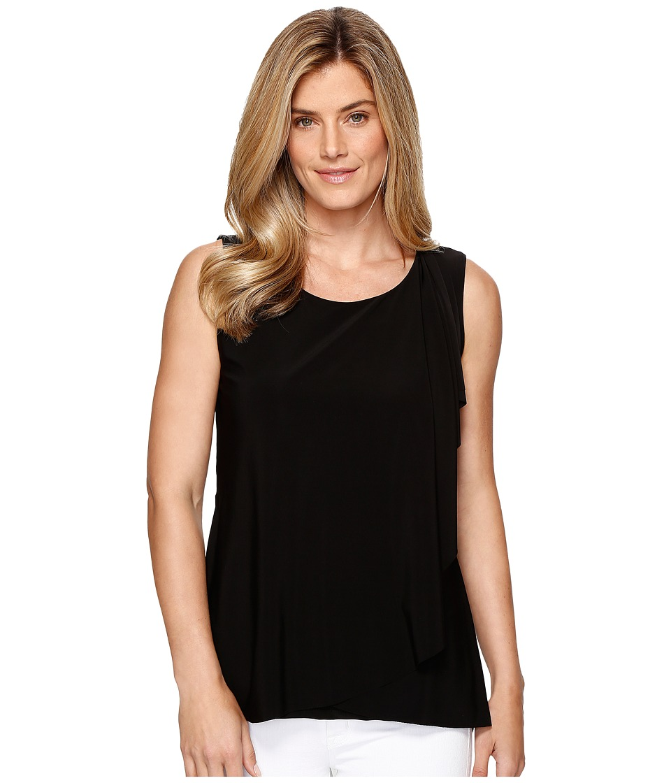Tribal - Travel Pack and Go Jersey Draped Front Tank Top (Black) Women's Sleeveless