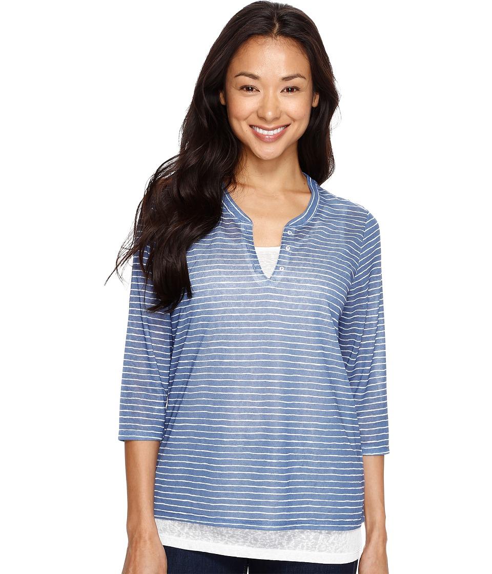 Tribal - 3/4 Sleeve Striped Knit Henley Top w/ Inside Cami (True Blue) Women's Long Sleeve Pullover