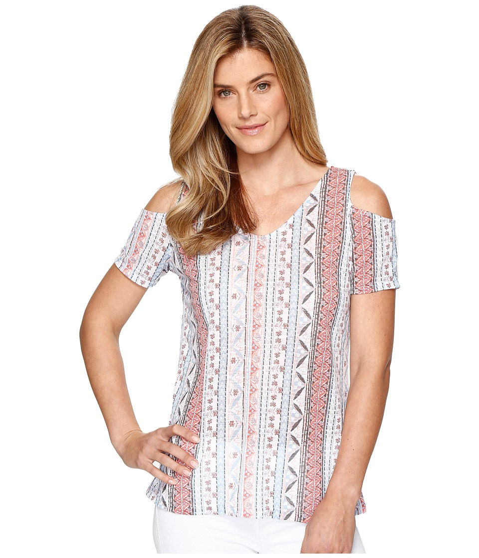 Tribal Printed Slub Cold Shoulder Knit Top (Coral Sky) Women