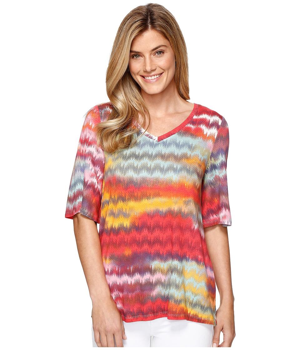 Tribal - Printed Slub Jersey Flutter Sleeve V-Neck Top (Laguna) Women's Long Sleeve Pullover
