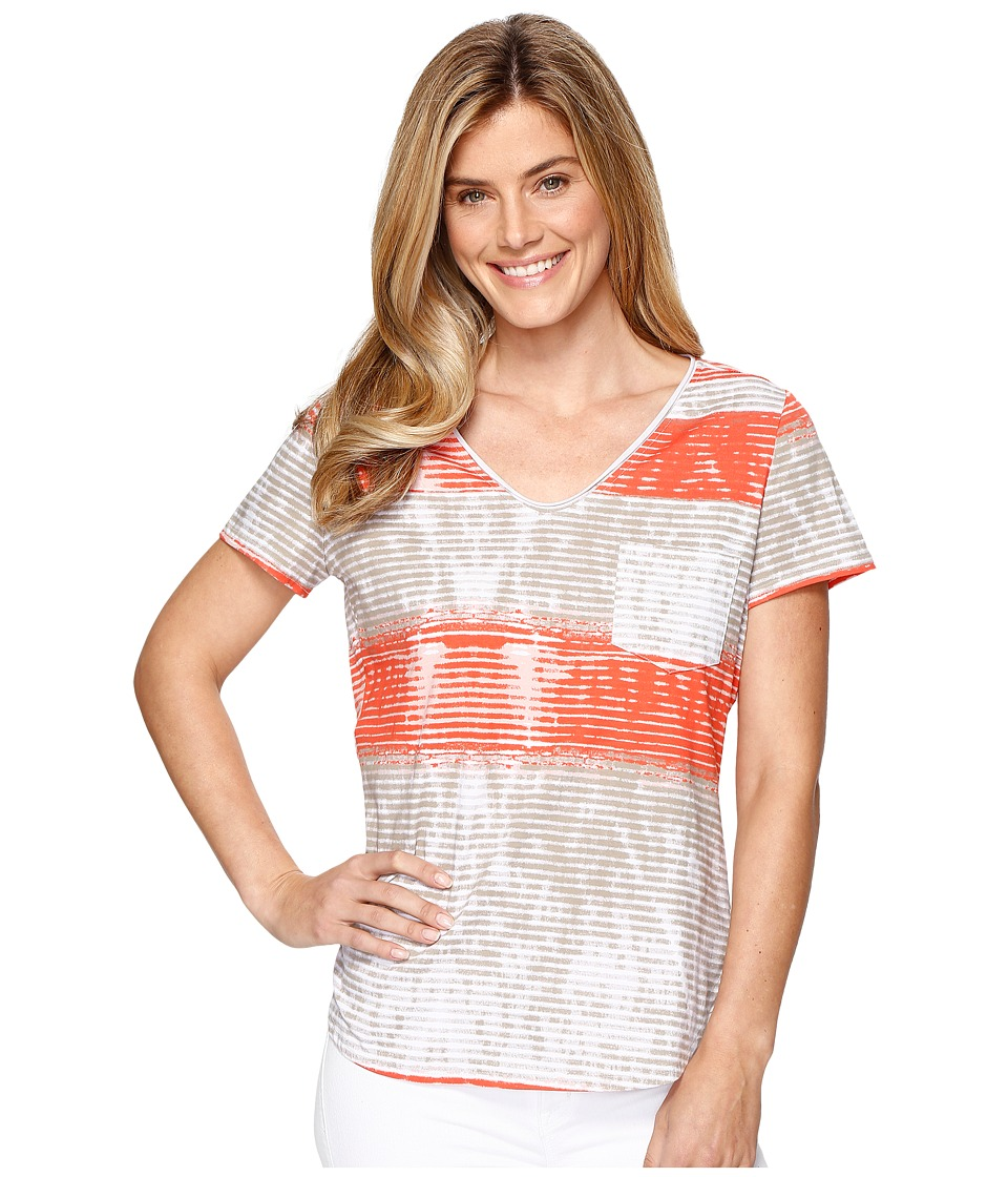Tribal - Printed Jersey Short Sleeve Rolled V-Neck Top (Papaya) Women's Short Sleeve Pullover