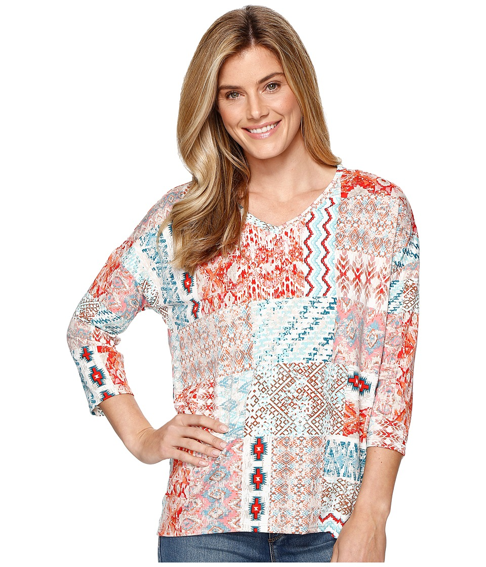 Tribal - Printed Jersey 3/4 Sleeve Drop Shoulder V-Neck Top (Laguna) Women's Long Sleeve Pullover