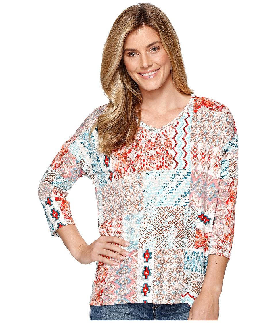 Tribal - Printed Jersey 3/4 Sleeve Drop Shoulder V-Neck Top (Laguna) Women's Long Sleeve Pullover