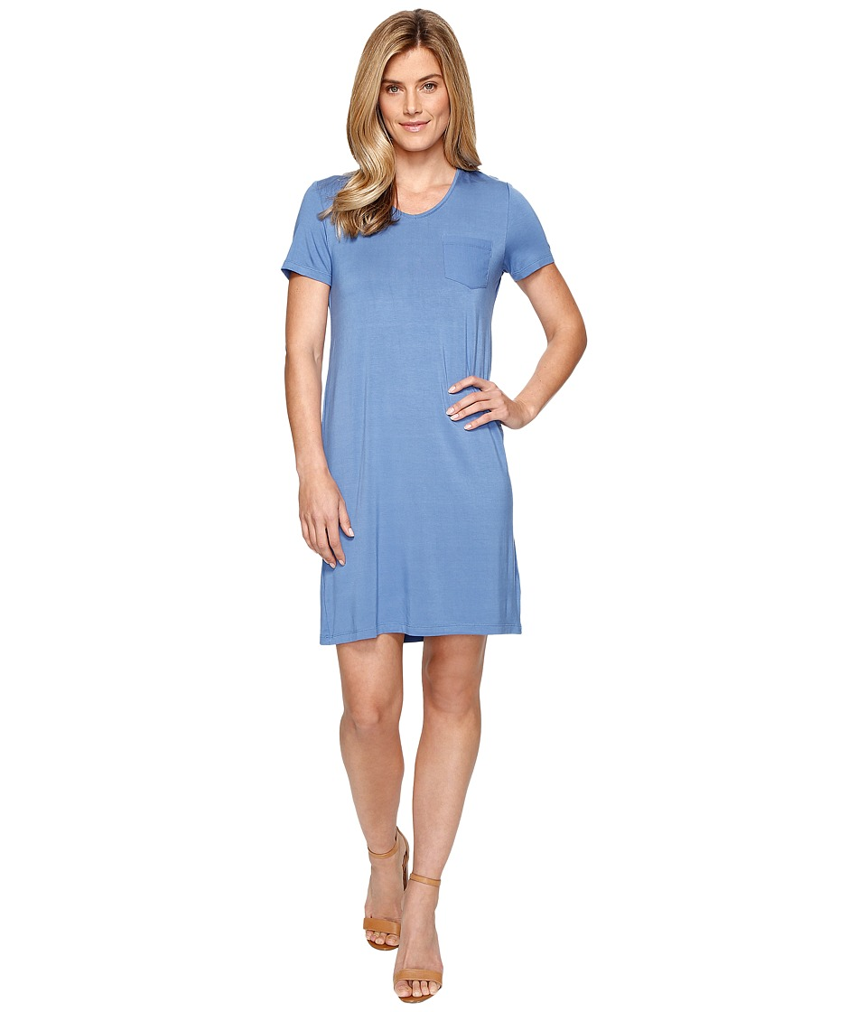 Tribal - Soft Jersey T-shirt Dress w/ Woven Pocket (True Blue) Women's Dress
