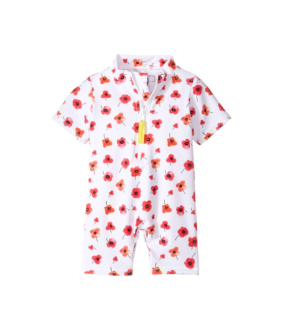Toobydoo - Poppy Flower Sunsuit (Infant/Toddler) (Red Floral/White) Girl's Jumpsuit & Rompers One Piece
