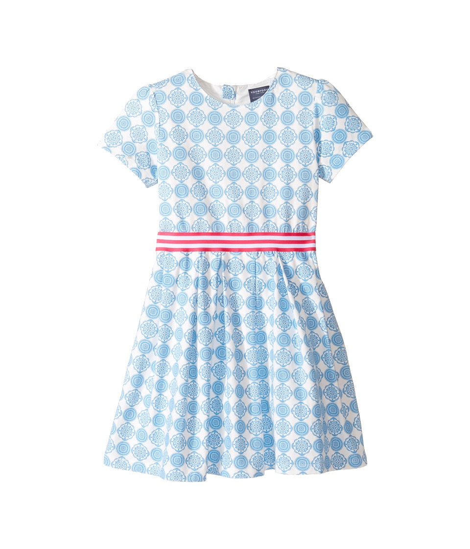 Toobydoo - Jersey Belted Party Dress (Toddler/Little Kids/Big Kids) (Blue/White/Pink) Girl's Dress
