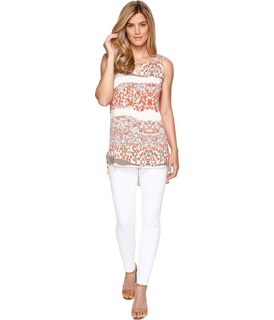 Tribal - Printed Jersey Sleeveless Keyhole High-Low Tank Top (Papaya) Women's Sleeveless