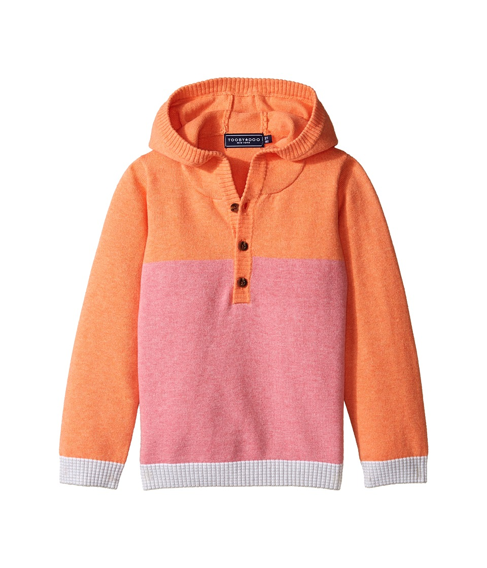 Toobydoo - Pink Henley Hoodie (Infant/Toddler) (Pink/Orange) Girl's Sweatshirt