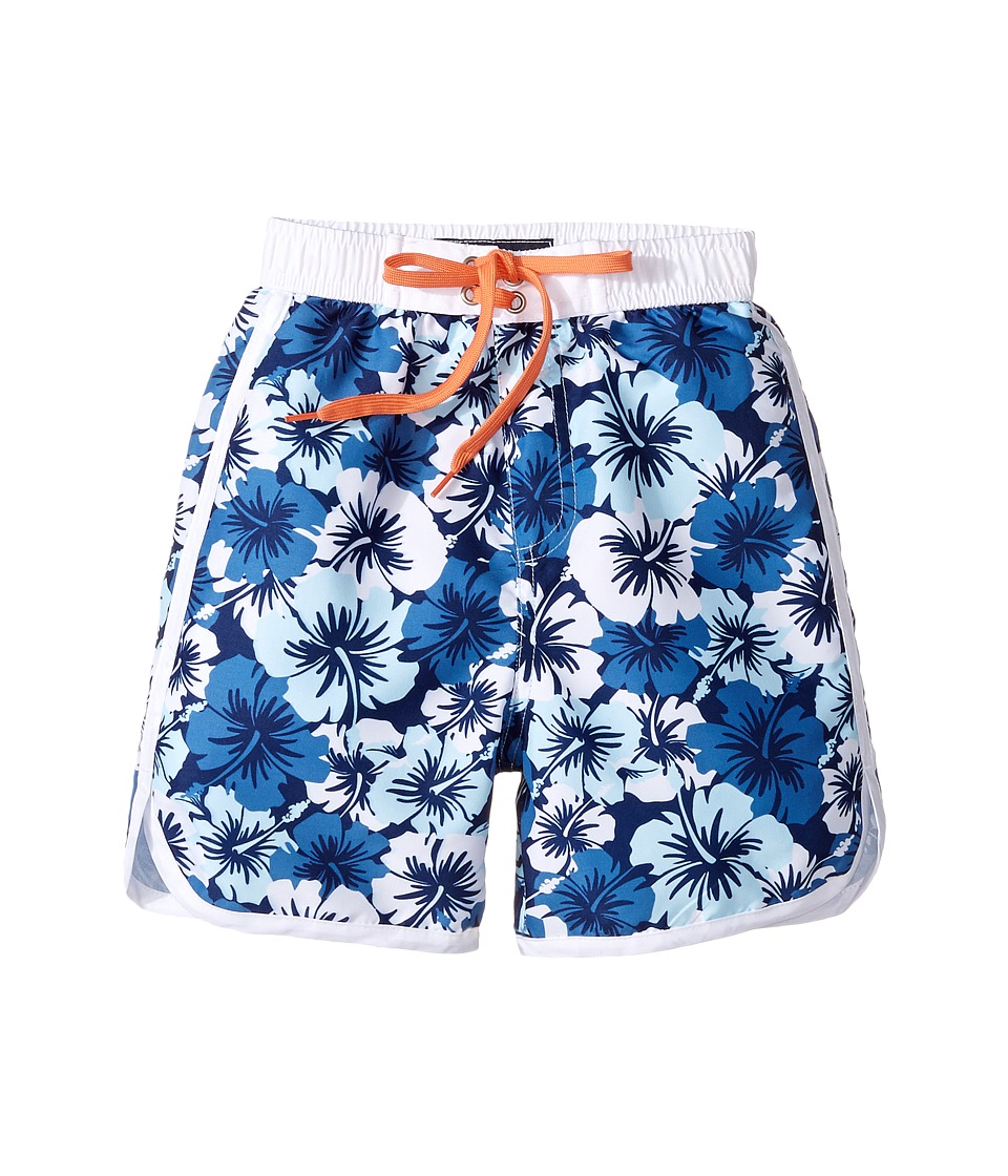 Toobydoo Hawaiian Blue Boardshorts (Infant/Toddler/Little Kids/Big Kids) (Hawaiian Flower/Aqua/Navy/White/Orange Tie) Boy