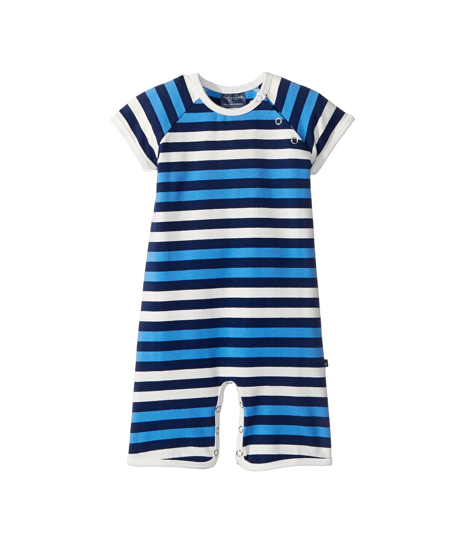 Toobydoo - Multi Blue Stripe Shortie Jumpsuit (Infant) (Navy/Blue/White) Boy's Jumpsuit & Rompers One Piece
