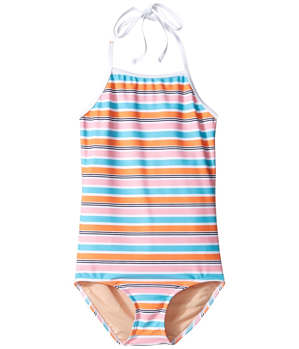 Toobydoo - One-Piece Pink Aqua Stripe Swimsuit (Infant/Toddler/Little Kids/Big Kids) (Aqua/Pink/Orange) Girl's Swimsuits One Piece