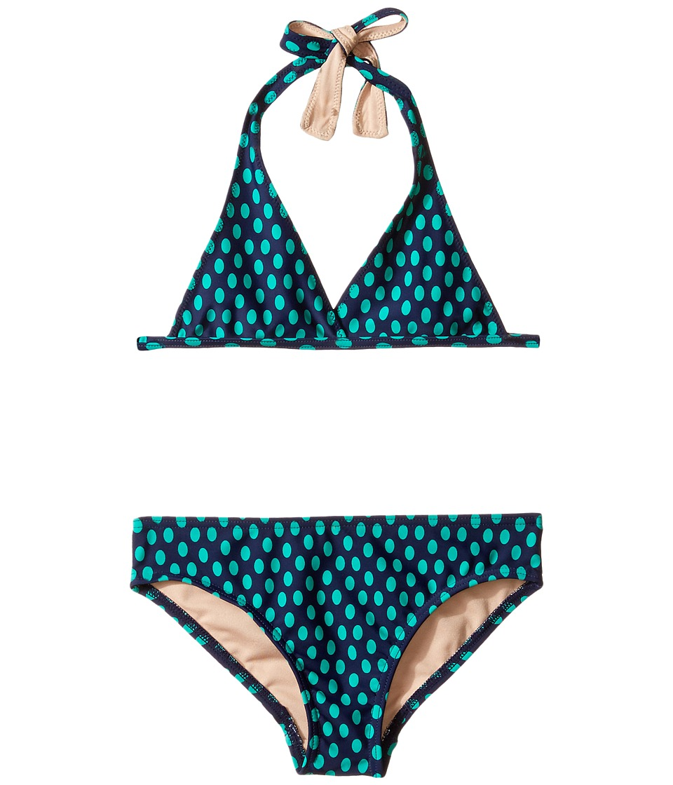 Toobydoo - Navy Drop Pattern Bikini (Infant/Toddler/Little Kids/Big Kids) (Emerald/Navy) Girl's Swimwear Sets