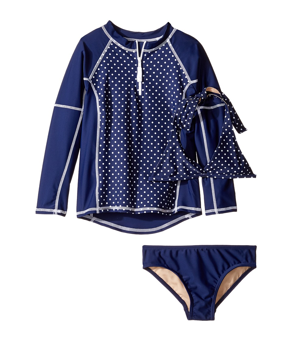 Toobydoo Navy White Dot Rashguard Set (Infant/Toddler/Little Kids/Big Kids) (Navy/White) Girl