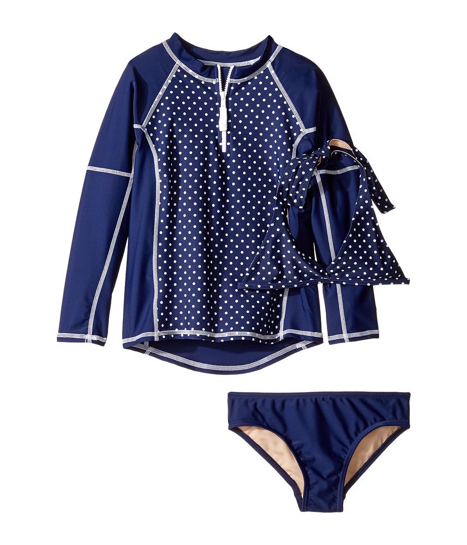Toobydoo Navy White Dot Rashguard Set (Infant/Toddler/Little Kids/Big Kids) (Navy/White) Girl