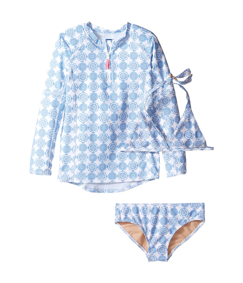 Toobydoo - Delft Blue Rashguard Set (Infant/Toddler/Little Kids/Big Kids) (Blue/White) Girl's Swimwear Sets
