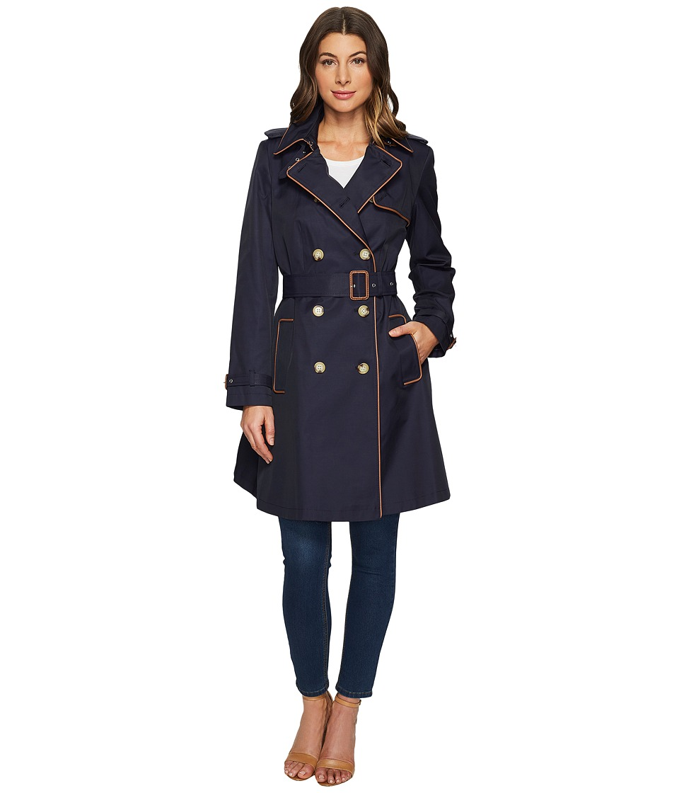 LAUREN Ralph Lauren - Trench w/ Faux Leather Piping (Capri Navy) Women's Coat