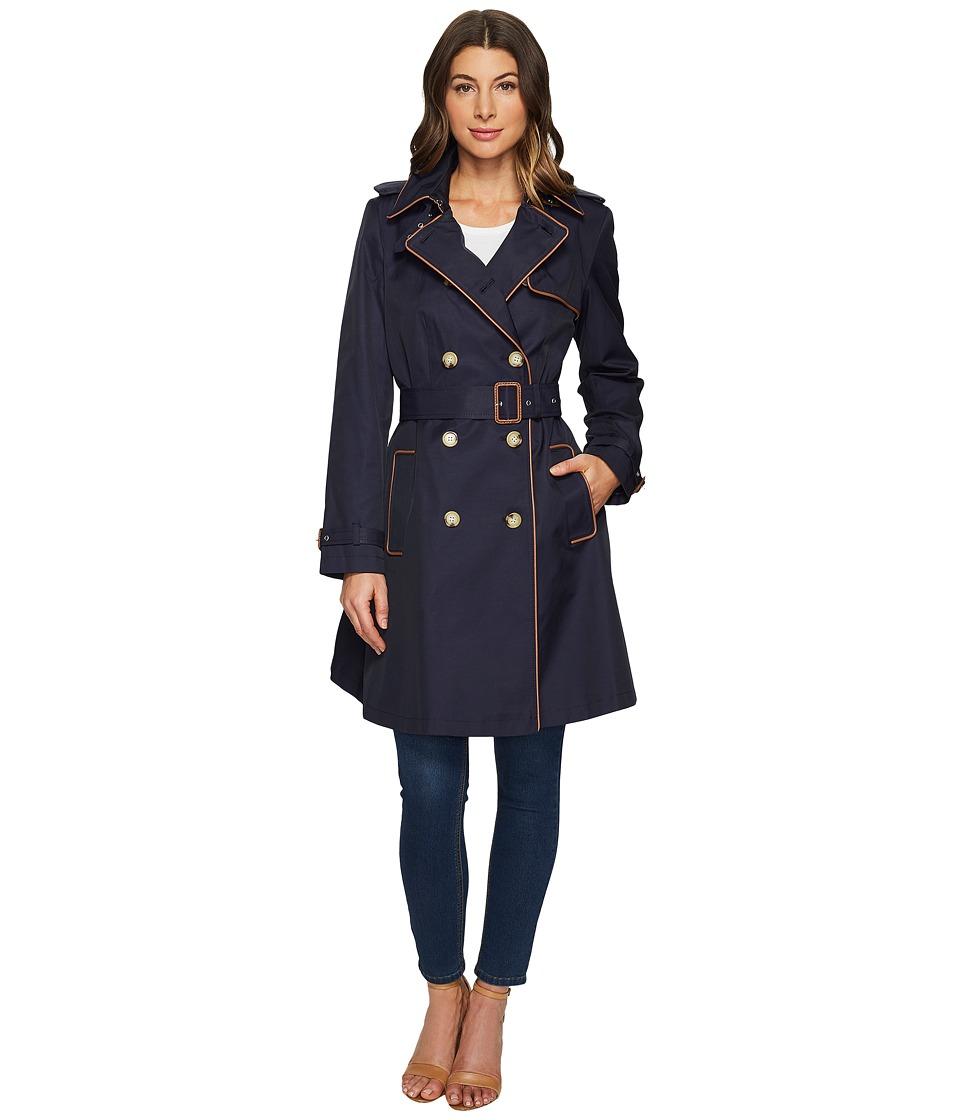 LAUREN Ralph Lauren - Trench w/ Faux Leather Piping (Capri Navy) Women's Coat