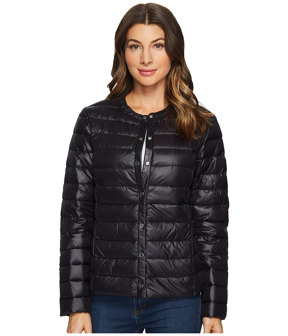 LAUREN Ralph Lauren - Collarless Down Snap Front (Black) Women's Coat