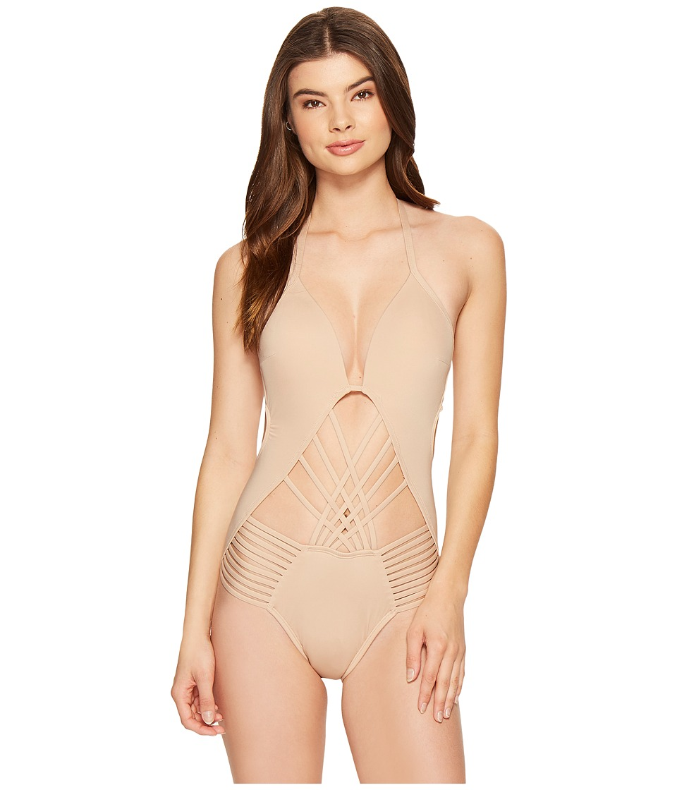 Kenneth Cole - Sexy Solids Push-Up One-Piece (Sand) Women's Swimsuits One Piece