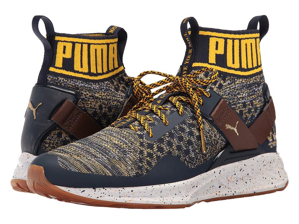 PUMA - Ignite evoKNIT (Peacoat/Chestnut/Spectra Yellow) Men's Running Shoes