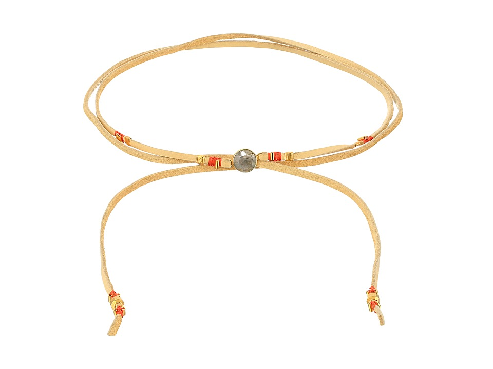 Chan Luu - 42 Adjustable Semi-Precious Stone and Raw Cut Leather Choker (Labradorite 3) Necklace