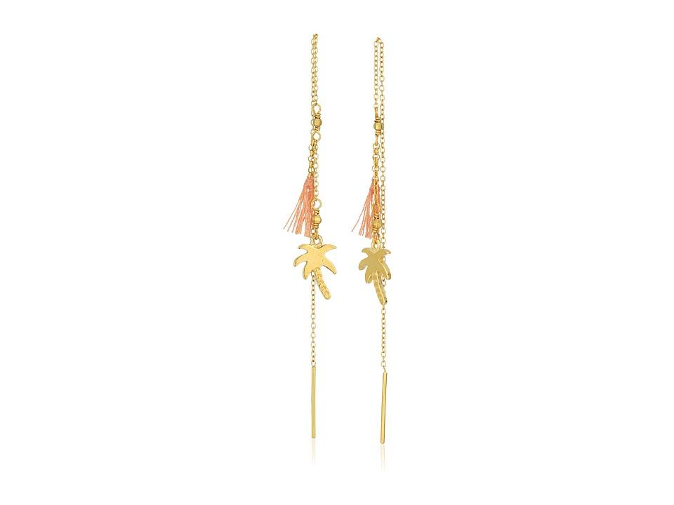 Chan Luu - Thread Thru Palm Tree and Tassel Earrings (Peach) Earring