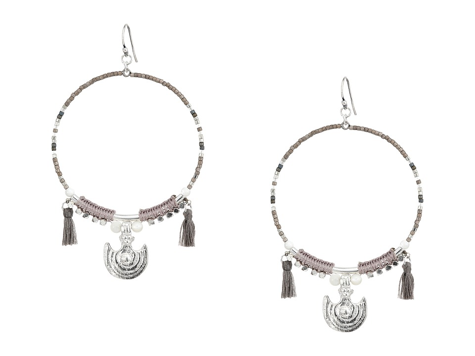 Chan Luu - Beaded Hoop Statement Earrings (Grey Mix) Earring