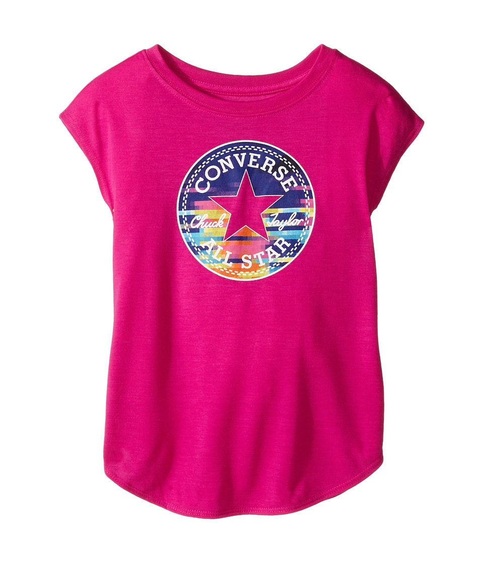 Converse Kids - Printed Chuck Patch Tee (Toddler/Little Kids) (Magenta Glow) Girl's T Shirt