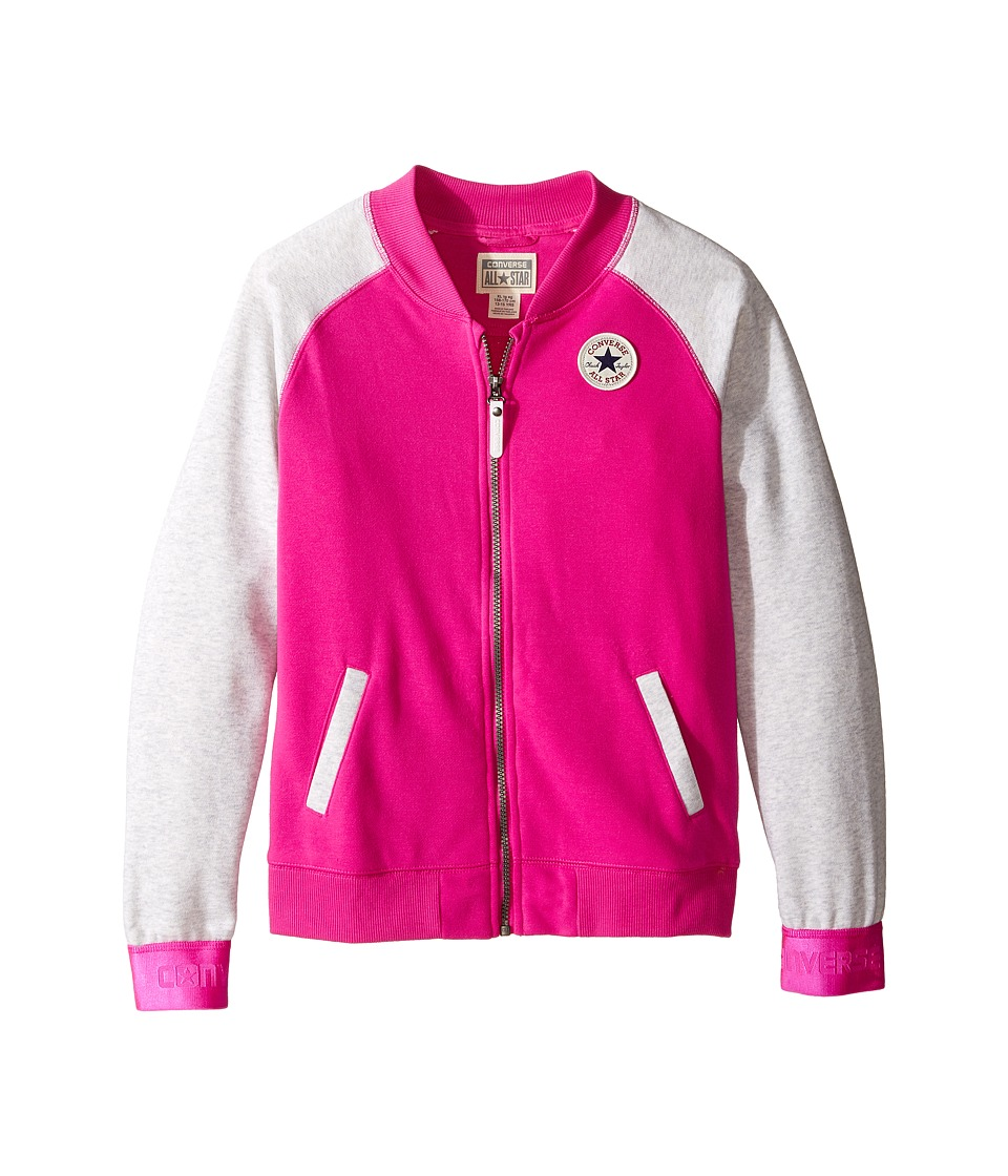 Converse Kids - Raglan Varsity Jacket (Big Kids) (Magenta Glow) Girl's Coat