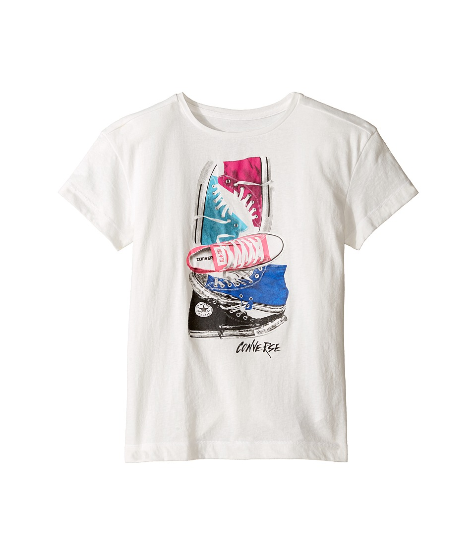 Converse Kids - Stacked Chuck II Tee (Big Kids) (White Snow Yarn) Girl's T Shirt