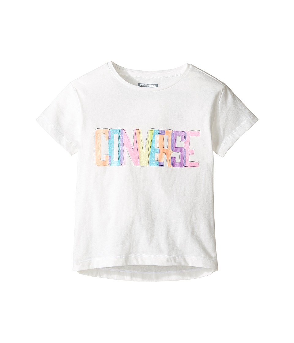 Converse Kids - Neon Lights Boxy Tee (Toddler/Little Kids) (White Snow Yarn) Girl's T Shirt