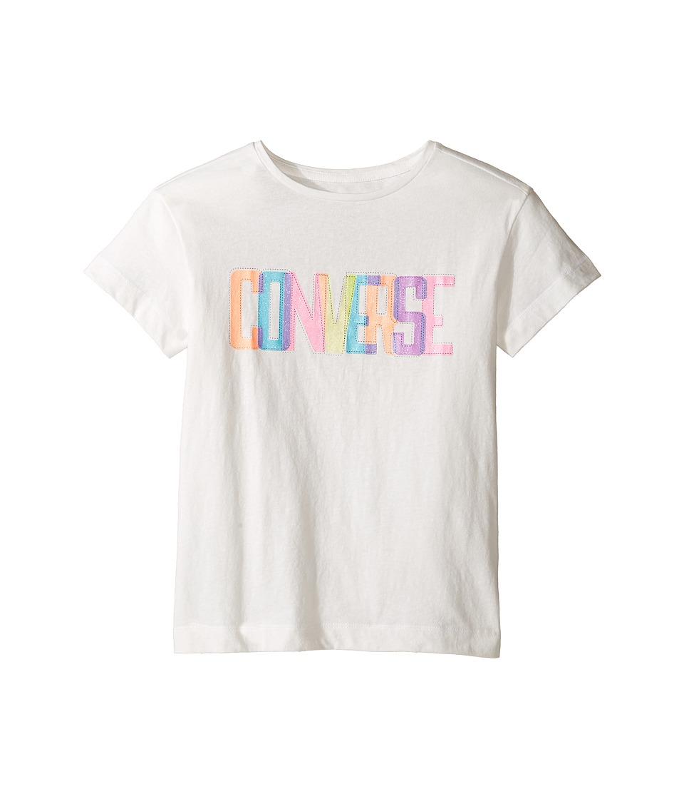 Converse Kids - Neon Lights Boxy Tee (Big Kids) (White Snow Yarn) Girl's T Shirt