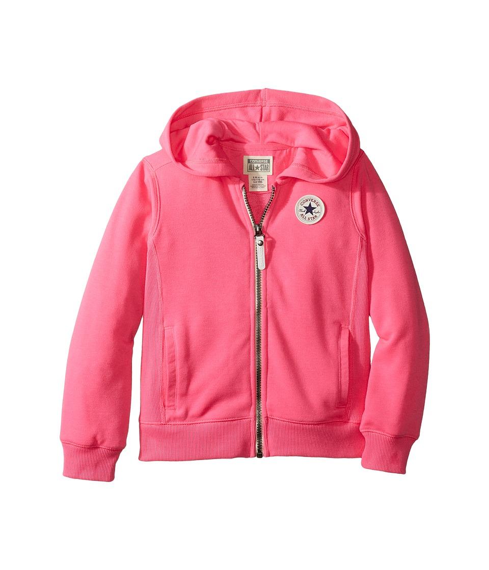 Converse Kids - CTP Rib Panel Front Zip (Toddler/Little Kids) (Neo Pink) Girl's Clothing