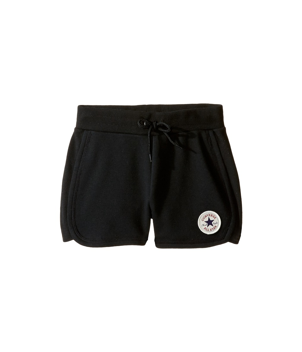 Converse Kids - CTP Rib Panel Shorts (Toddler/Little Kids) (Black) Girl's Shorts