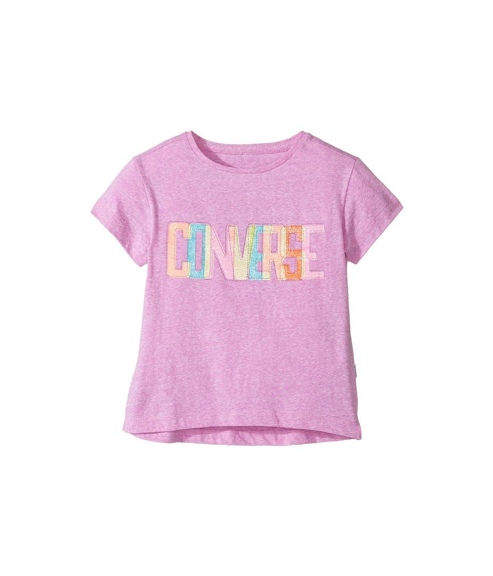 Converse Kids - Neon Lights Boxy Tee (Toddler/Little Kids) (Fuchsia Glow Snow Heather) Girl's T Shirt