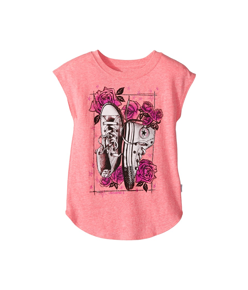 Converse Kids - Chucks N Roses Tee (Toddler/Little Kids) (Neo Pink Snow Heather) Girl's T Shirt