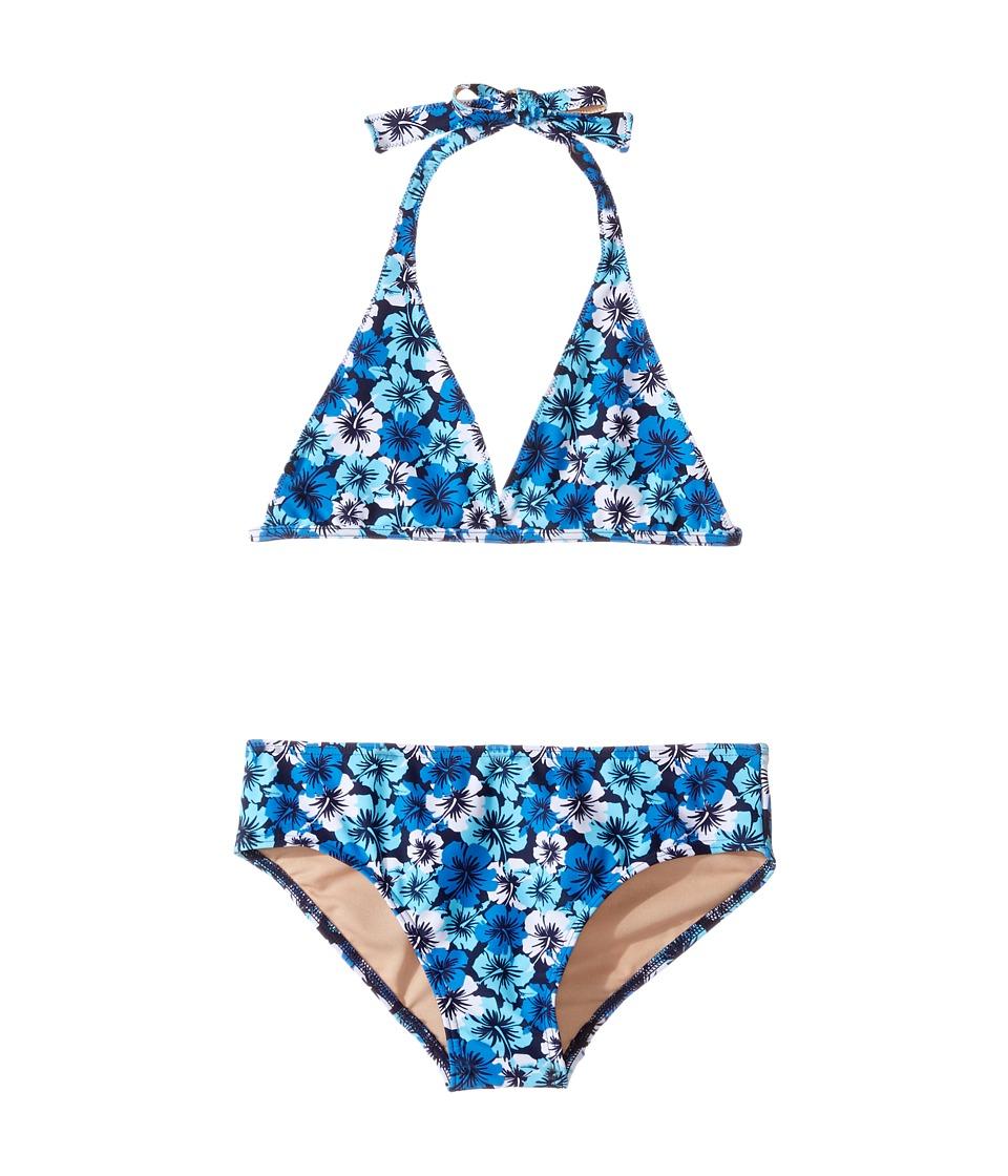 Toobydoo Hawaiian Flower Bikini (Infant/Toddler/Little Kids/Big Kids) (Hawaiian Flower/Aqua/Navy/White) Girl
