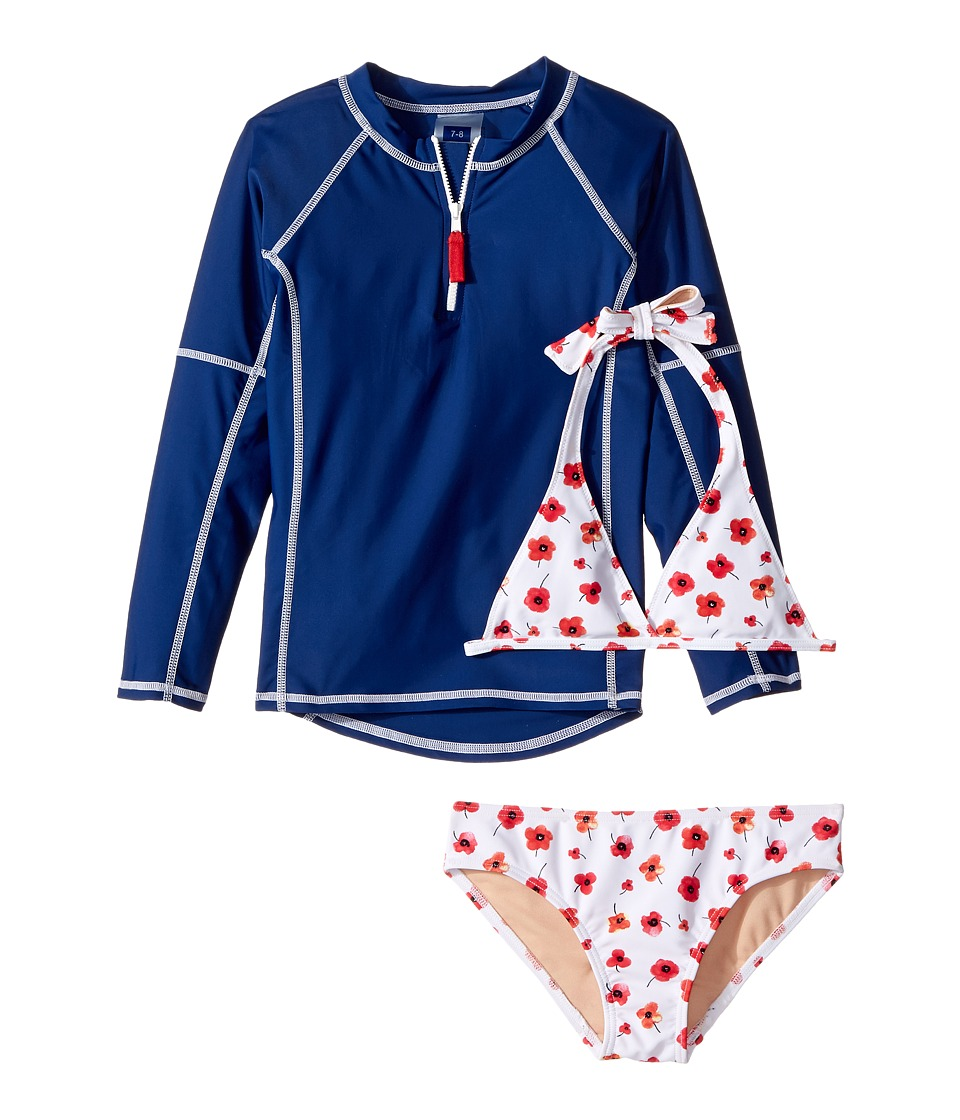 Toobydoo - Poppy Flower Rashguard Set (Infant/Toddler/Little Kids/Big Kids) (Red Floral/Navy/White) Girl's Swimwear Sets