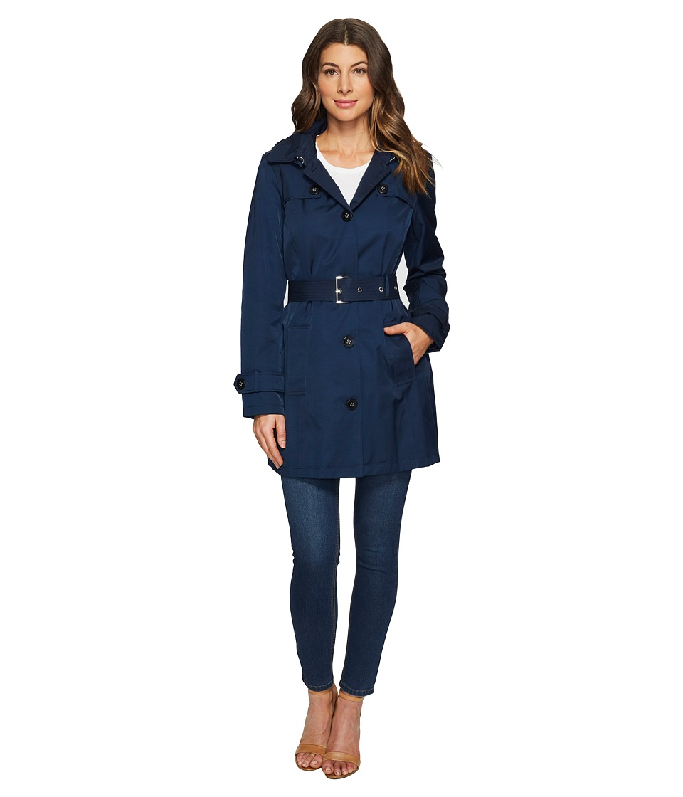 Tommy Hilfiger - Striped Belted Trench Coat (Navy) Women's Coat