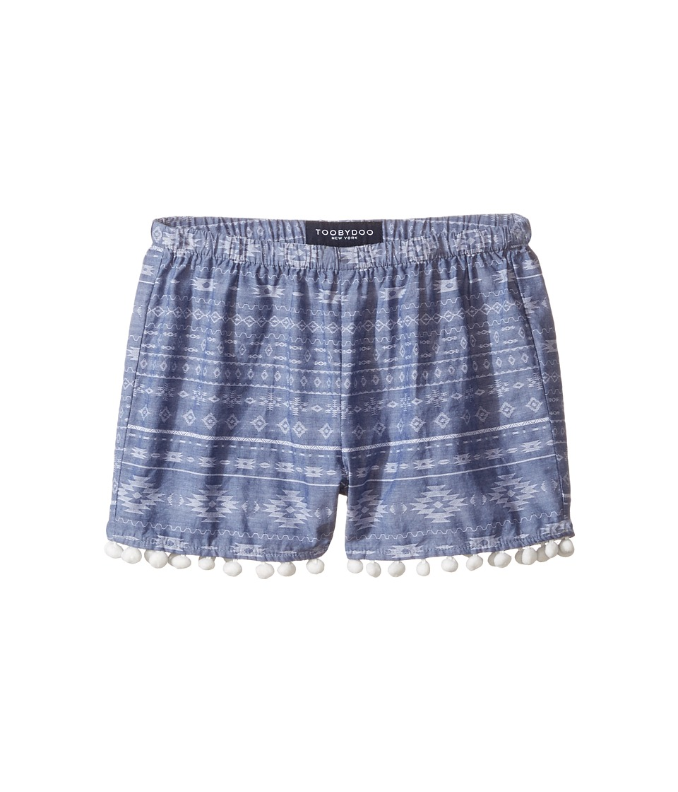 Toobydoo - Chambray Pom Pom Shorts (Toddler/Little Kids/Big Kids) (Chambray/White) Girl's Shorts
