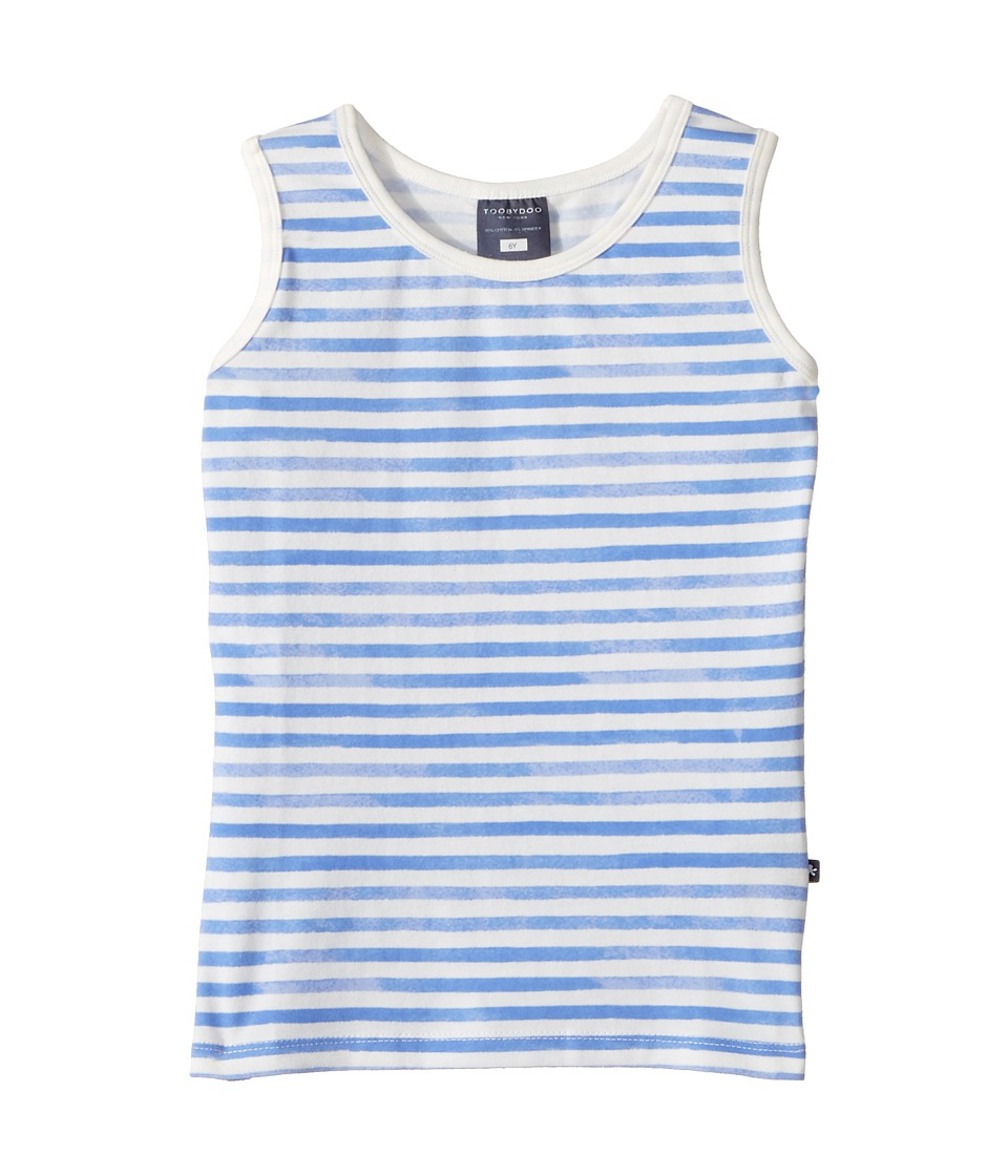 Toobydoo - Watercolor Blue Stripe Tank Top (Toddler/Little Kids/Big Kids) (Blue/White) Girl's Sleeveless