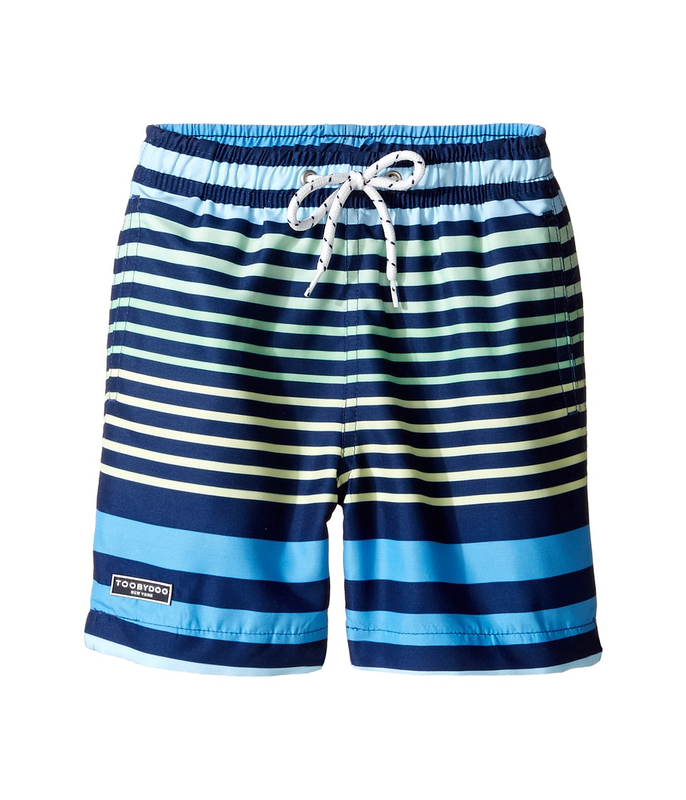 Toobydoo - Multi Stripe Blue Green Yellow Swim Regular Shorts (Infant/Toddler/Little Kids/Big Kids) (Blue/Green/Yellow) Boy's Swimwear