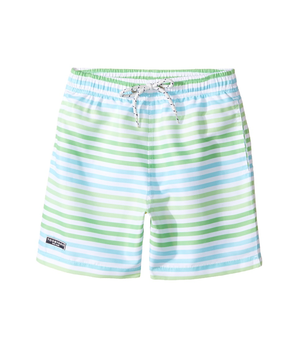 Toobydoo - Swim Shorts Multi Green Stripe (Short) (Infant/Toddler/Little Kids/Big Kids) (Green/Blue/White) Boy's Swimwear